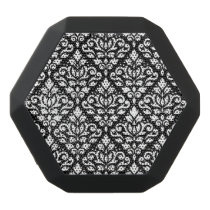 Scroll Damask Pattern White on Black Black Bluetooth Speaker