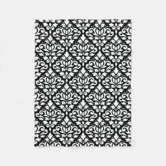 Scroll Damask Pattern White on Black Fleece Blanket