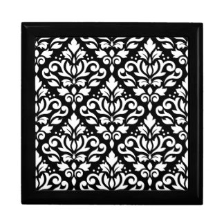 Scroll Damask Pattern White on Black Jewelry Boxes