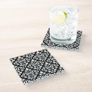 Scroll Damask Pattern White on Black Glass Coaster