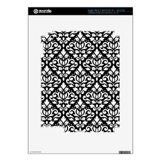 Scroll Damask Pattern White on Black iPad 3 Skins