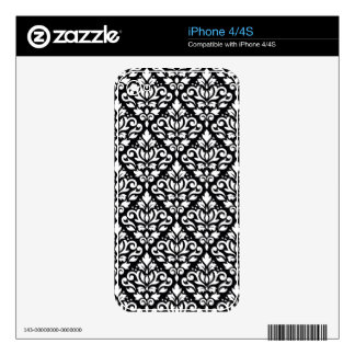 Scroll Damask Pattern White on Black iPhone 4 Decals