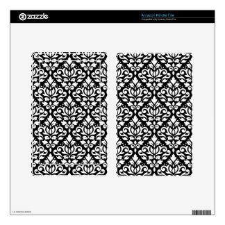 Scroll Damask Pattern White on Black Kindle Fire Skins