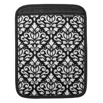 Scroll Damask Pattern White on Black Sleeve For iPads