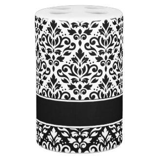 Scroll Damask Pattern White on Black Soap Dispenser And Toothbrush Holder