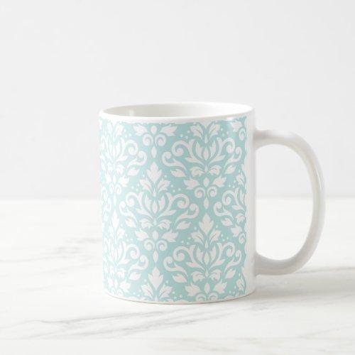 Scroll Damask Pattern White on Duck Egg Blue Coffee Mug