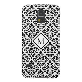 Scroll Damask Ptn Black on White (Personalized) Galaxy S5 Case