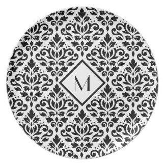Scroll Damask Ptn Black on White (Personalized) Party Plate