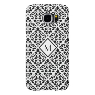 Scroll Damask Ptn Black on White (Personalized) Samsung Galaxy S6 Case