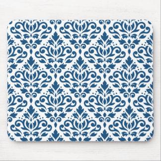 Scroll Damask Ptn Dk Blue on White Mouse Pad