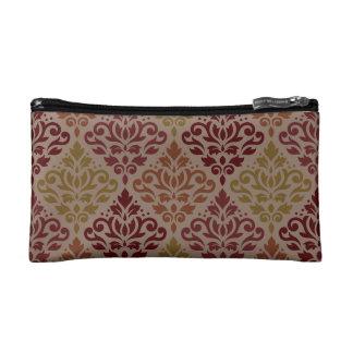 Scroll Damask Ptn Reds Orange Gold Taupe Makeup Bag