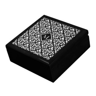 Scroll Damask Ptn White on Black (Personalized) Keepsake Box