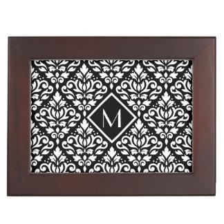 Scroll Damask Ptn White on Black (Personalized) Memory Box
