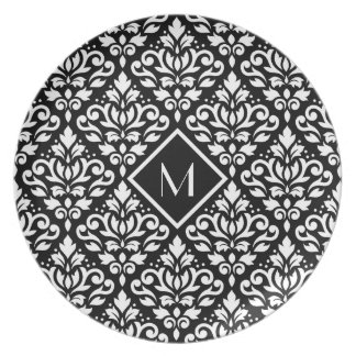 Scroll Damask Ptn White on Black (Personalized) Plates