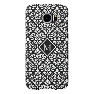 Scroll Damask Ptn White on Black (Personalized) Samsung Galaxy S6 Case