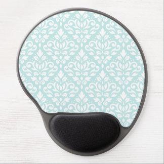 Scroll Damask Ptn White on Duck Egg Blue Gel Mouse Pad