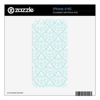 Scroll Damask Ptn White on Duck Egg Blue iPhone 4 Decals