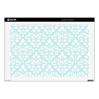 Scroll Damask Ptn White on Duck Egg Blue Laptop Skin