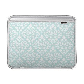 Scroll Damask Ptn White on Duck Egg Blue MacBook Air Sleeve