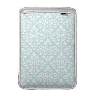 Scroll Damask Ptn White on Duck Egg Blue MacBook Sleeve