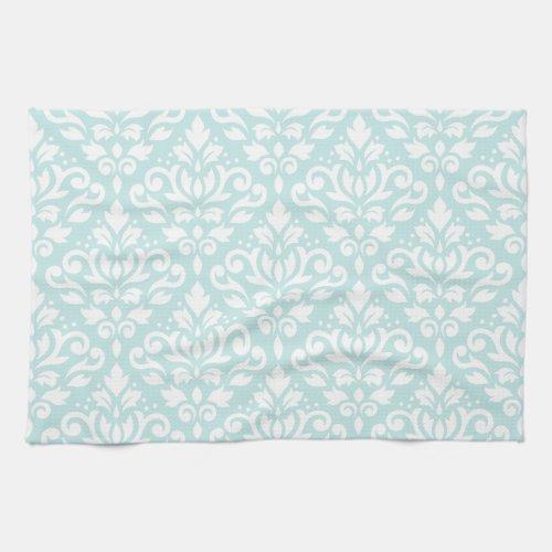 Scroll Damask Ptn White on Duck Egg Blue Towel