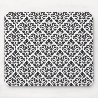 Scroll Damask Repeat Pattern Black on White Mouse Pad