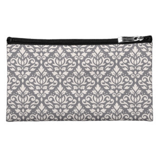 Scroll Damask Repeat Pattern Cream on Grey Cosmetic Bag