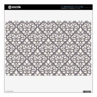 Scroll Damask Repeat Pattern Cream on Grey Decals For The MacBook