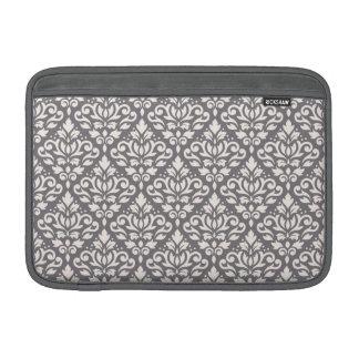 Scroll Damask Repeat Pattern Cream on Grey MacBook Sleeves