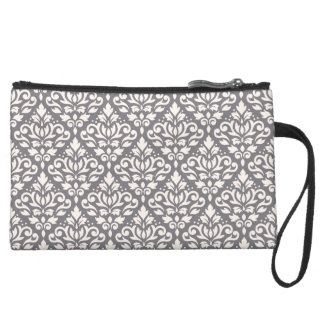 Scroll Damask Repeat Pattern Cream on Grey Suede Wristlet