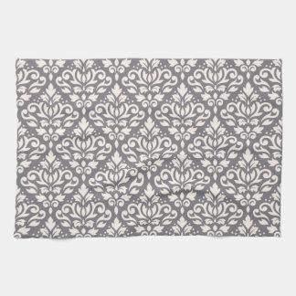 Scroll Damask Repeat Pattern Cream on Grey Towel