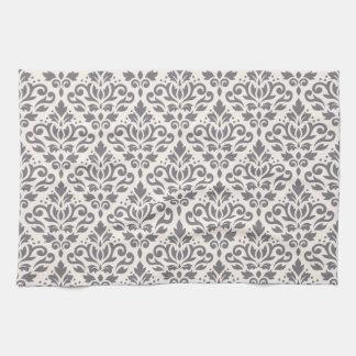 Scroll Damask Repeat Pattern Grey on Cream Hand Towel
