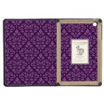 Scroll Damask Repeat Pattern Light on Dark Plum iPad Mini Cases