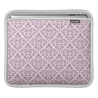 Scroll Damask Repeat Pattern Mauve on Pink iPad Sleeves