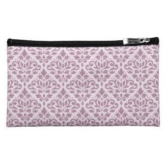 Scroll Damask Repeat Pattern Mauve on Pink Makeup Bag