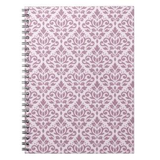 Scroll Damask Repeat Pattern Mauve on Pink Notebook