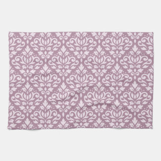 Scroll Damask Repeat Pattern Pink on Mauve Hand Towel
