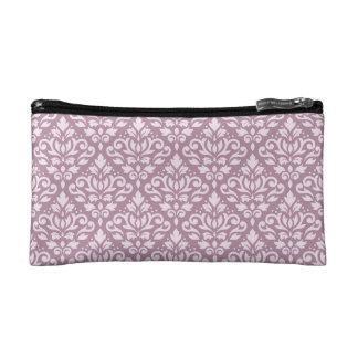 Scroll Damask Repeat Pattern Pink on Mauve Makeup Bag