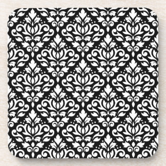 Scroll Damask Repeat Pattern White on Black Drink Coaster