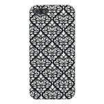 Scroll Damask Repeat Pattern White on Black iPhone 5 Cases