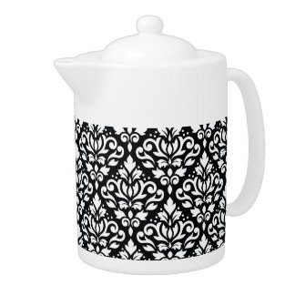 Scroll Damask Repeat Pattern White on Black Teapot