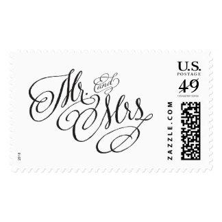 Scroll Font Wedding Postage Stamp