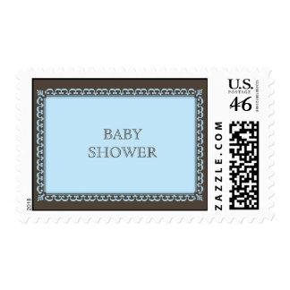 Scroll Frame Blue Custom Postage Stamp