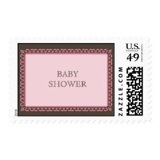 Scroll Frame Pink Custom Postage Stamp