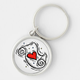 Scroll heart white Silver-Colored round keychain