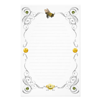 Scroll Honey Bee Lined Stationery