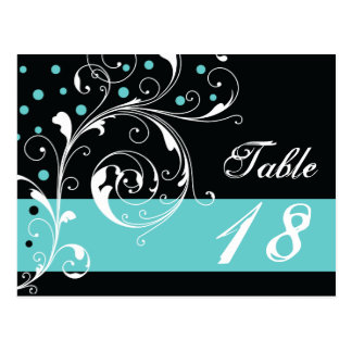 Scroll leaf black, aqua wedding Table number Postcard