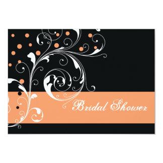Scroll leaf black coral wedding bridal shower card