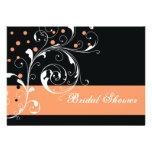 Scroll leaf black coral wedding bridal shower invitations