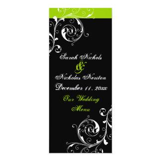 """Scroll leaf black, green wedding menu card 4"""" x 9.25"""" invitation card"""